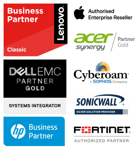 Business Partner logos of Lenovo, Apple, Acer, Dell, HP, Cyberoam, Sonicwall and Fortinet